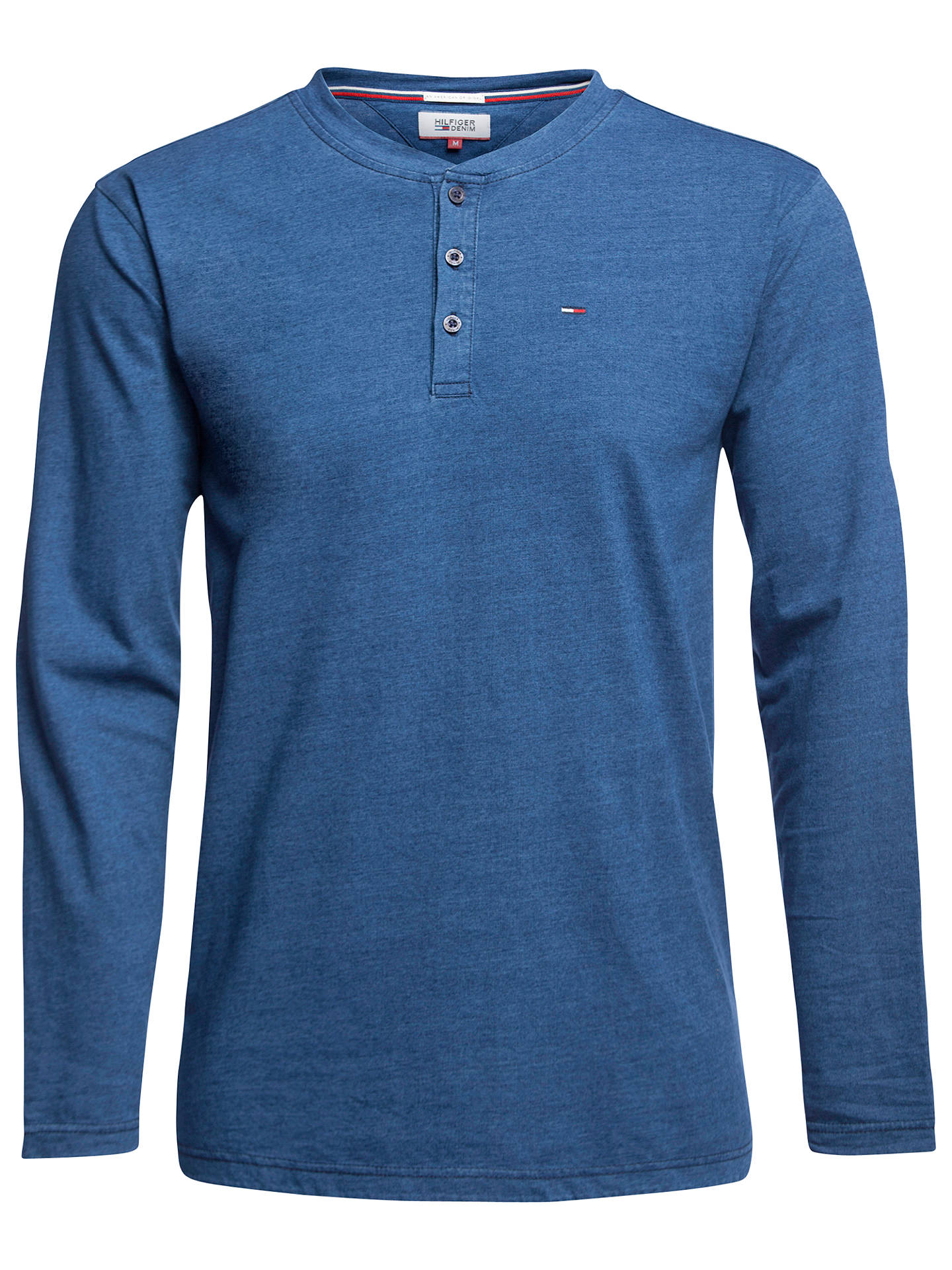 f0722be7b Buy Tommy Hilfiger Long Sleeve Henley T-Shirt, Mid Indigo, S Online at ...