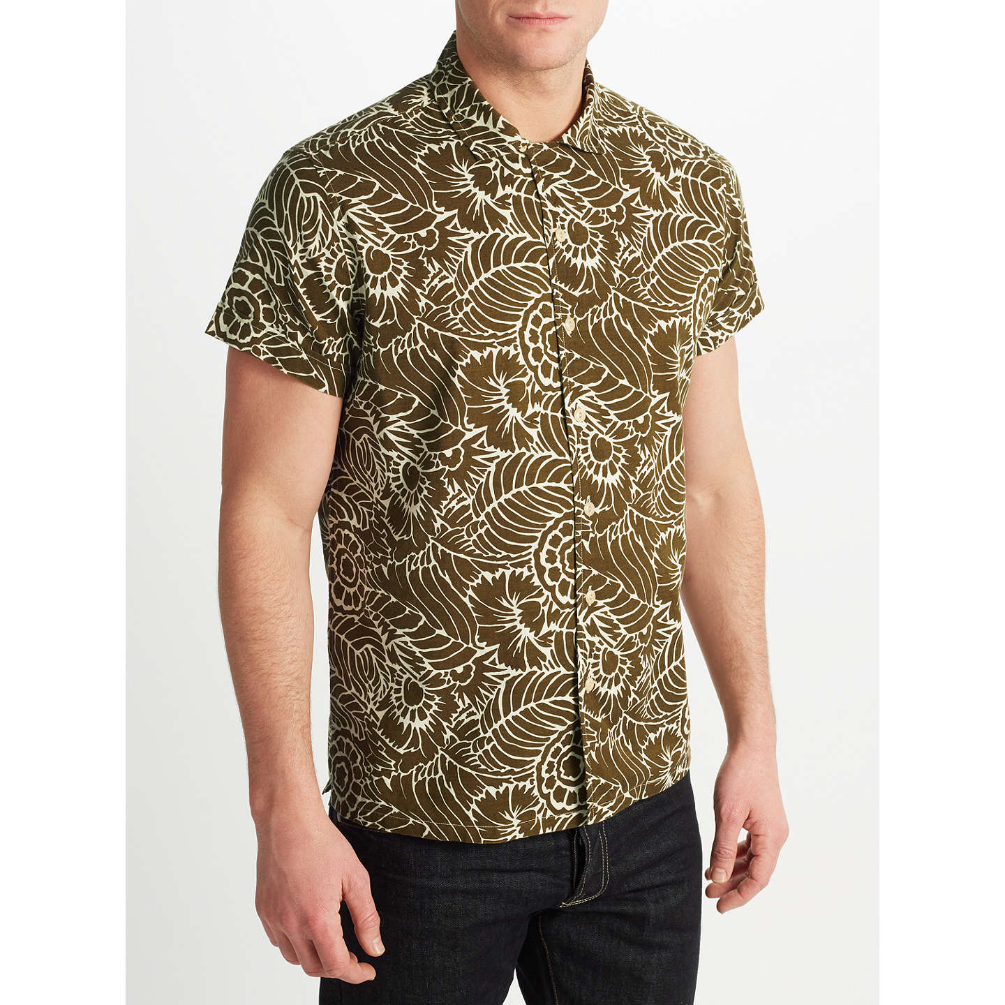BuyJOHN LEWIS & Co. Thistle Flower Print Short Sleeve Shirt, Khaki, S Online at johnlewis.com