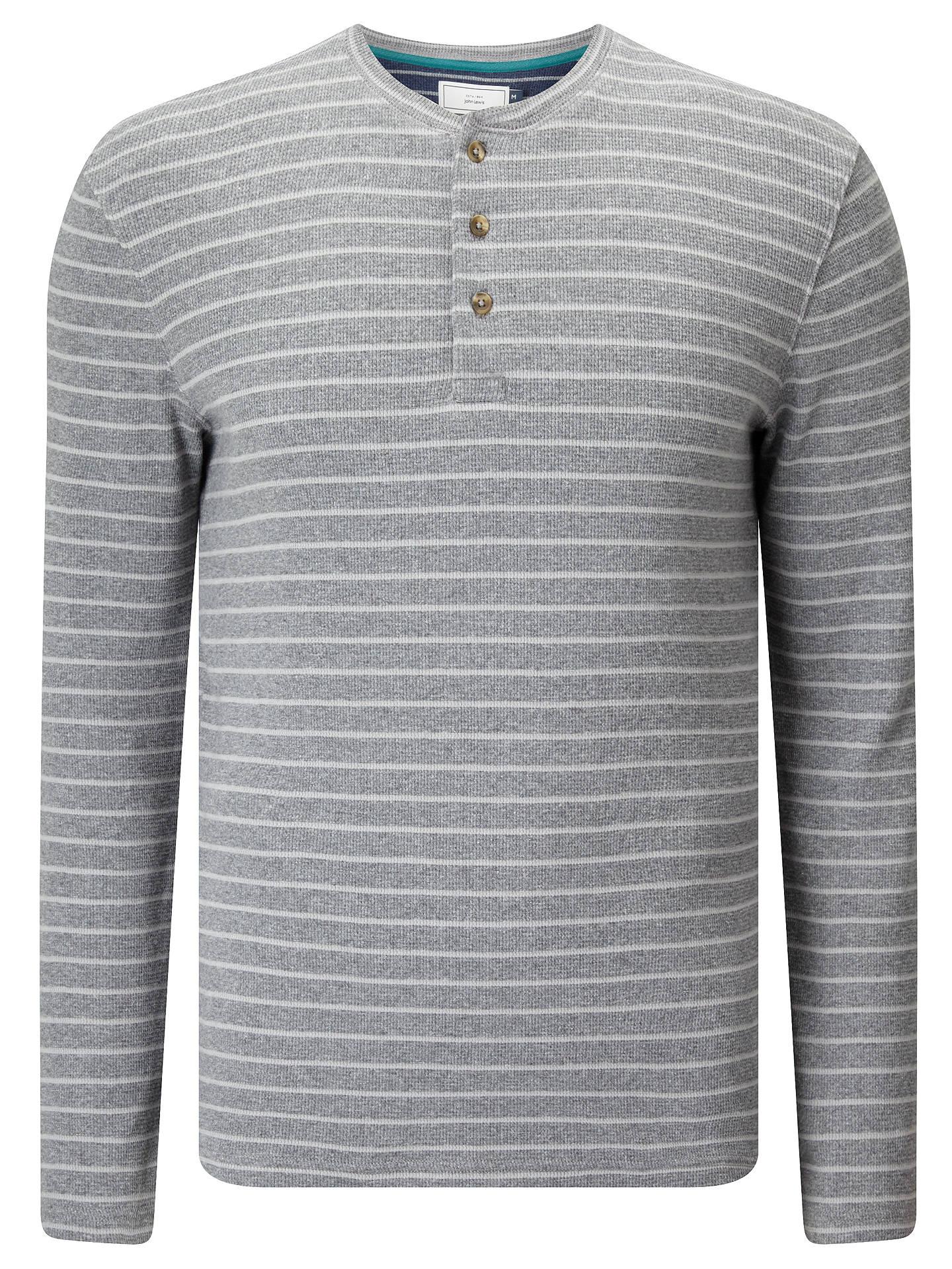 18661469d40e ... Buy John Lewis Stripe Waffle Henley Shirt, Grey, S Online at johnlewis.com  ...