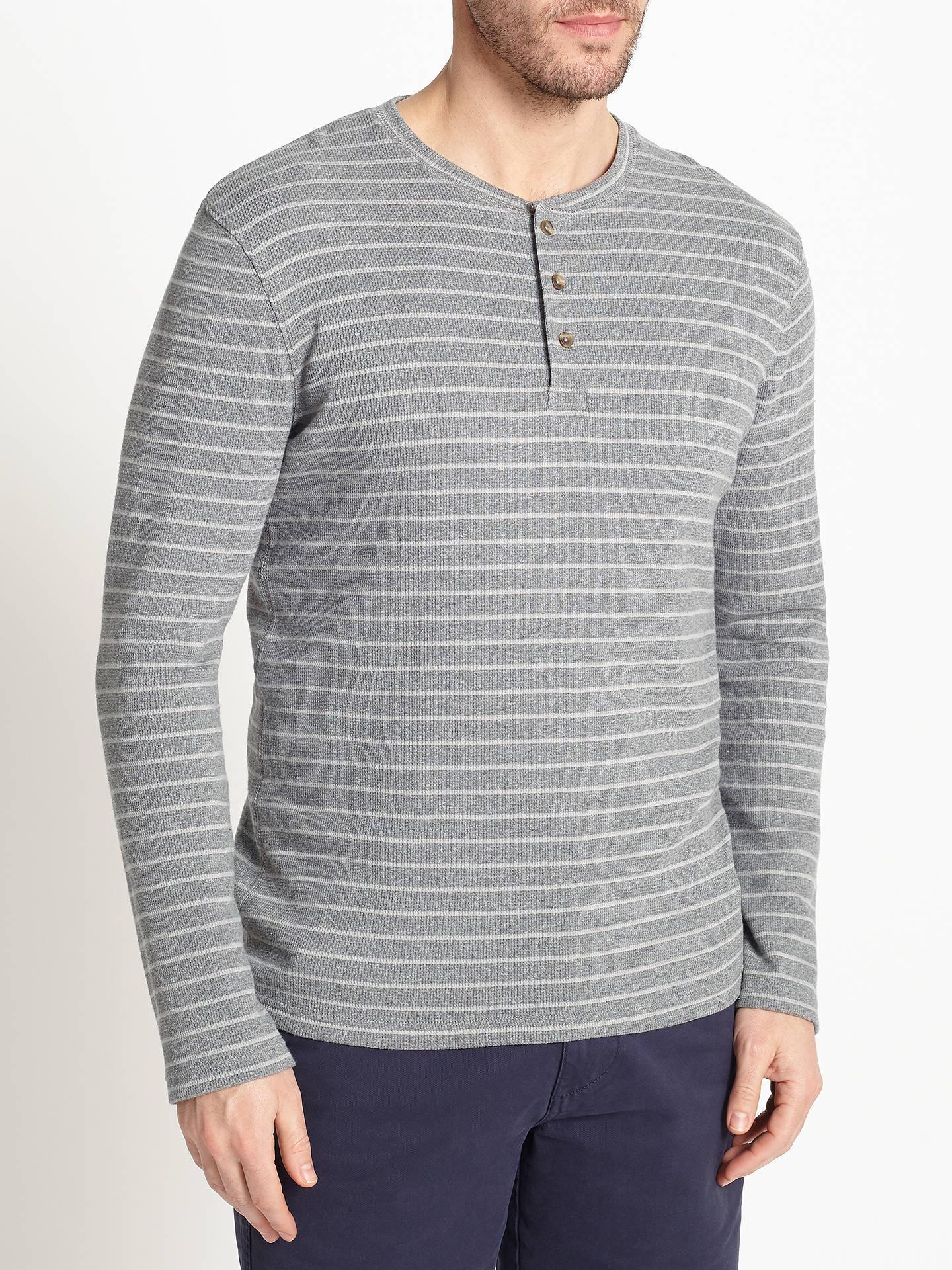 99dab757ea45 Buy John Lewis Stripe Waffle Henley Shirt, Grey, S Online at johnlewis.com  ...