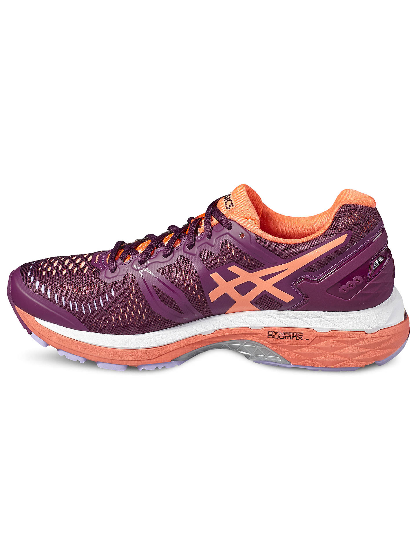 new product 0f83d 2b051 Asics GEL-Kayano 23 Women's Running Shoes, Purple/Coral at ...