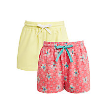 Buy John Lewis Girls' Flower Shorts, Pack of 2, Yellow/Red Online at johnlewis.com