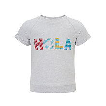 Buy John Lewis Girls' Hola Short Sleeve Sweatshirt, Grey Online at johnlewis.com