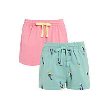 Buy John Lewis Girls' Tropical Shorts, Pack of 2, Pink/Green Online at johnlewis.com