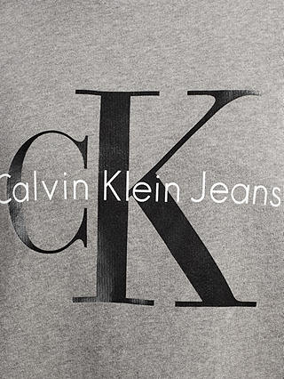 Buy Calvin Klein Printed Logo Sweatshirt, Light Grey Heather, S Online at johnlewis.com