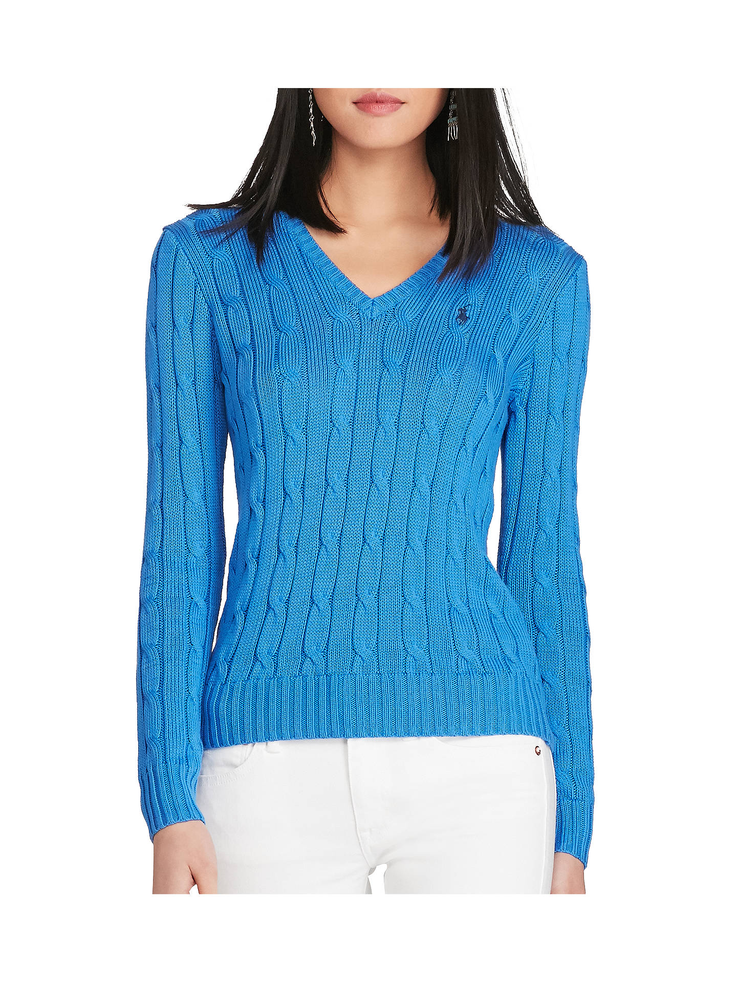 ca39427ce37 Polo Ralph Lauren V-Neck Cable Knit Jumper at John Lewis & Partners