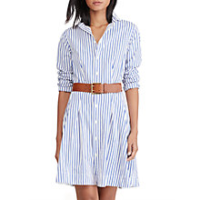Buy Polo Ralph Lauren Pleated Poplin Shirt Dress, White/Regatta Online at johnlewis.com