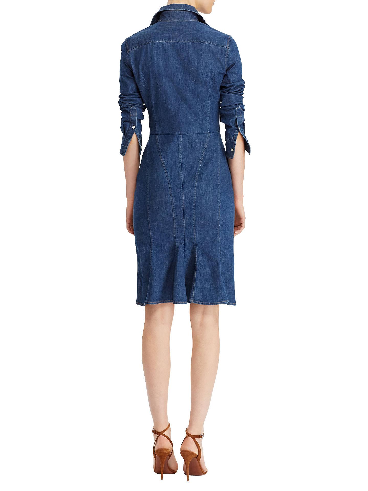 clearance prices new specials uk availability Polo Ralph Lauren Stretch Denim Shirtdress, Medium Indigo at John ...