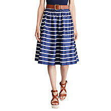 Buy Polo Ralph Lauren Striped A-Line Sateen Skirt, Blue/White Online at johnlewis.com
