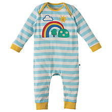 Buy Frugi Organic Baby Charlie Rainbow Romper, Blue/White Online at johnlewis.com