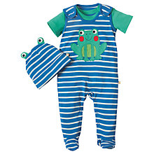 Buy Frugi Organic Baby Snuggle Frog Dungaree, T-Shirt and Hat Gift Set, Blue/White Online at johnlewis.com