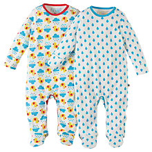 Buy Frugi Organic Baby Scrumptious Duck and Sky Drops Sleepsuit, Pack of 2, Multi Online at johnlewis.com