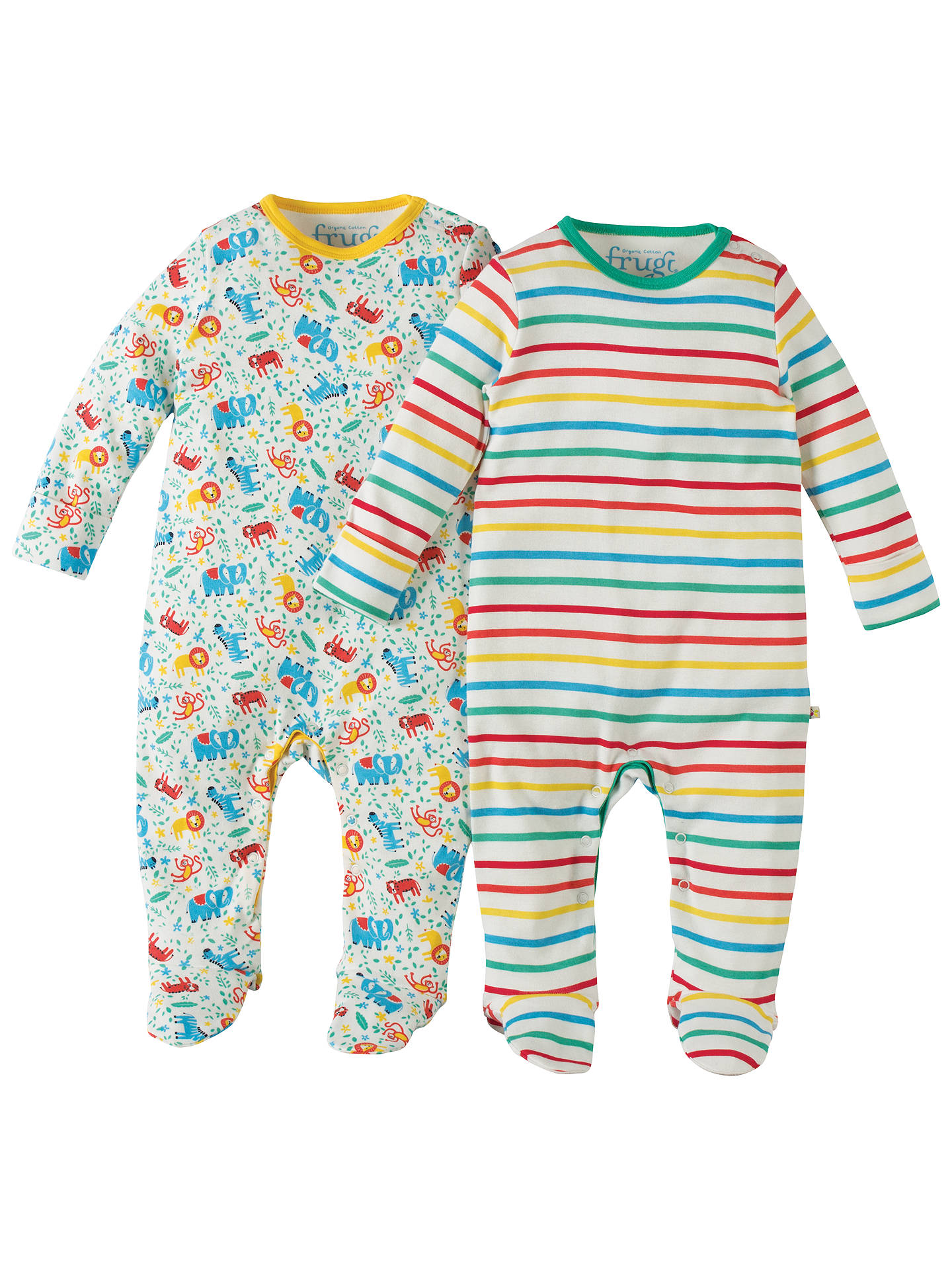 6aec53d8cc77 Frugi Organic Baby Striped Zoo Print Sleepsuit