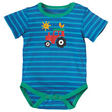 Buy Frugi Organic Baby Lowen Tractor Bodysuit, Blue/Multi Online at johnlewis.com