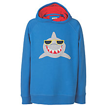 Buy Frugi Organic Boys' Hedgegrow Shark Hoodie, Blue Online at johnlewis.com