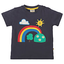 Buy Frugi Organic Baby Little Creature Rainbow Applique Short Sleeve Top, Navy Online at johnlewis.com