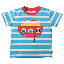 Buy Frugi Organic Baby Little Fal Applique Boat Short Sleeve Top, Blue/White Online at johnlewis.com