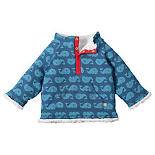 Buy Frugi Organic Reversible Whale Print Snuggle Fleece, Blue/White Online at johnlewis.com