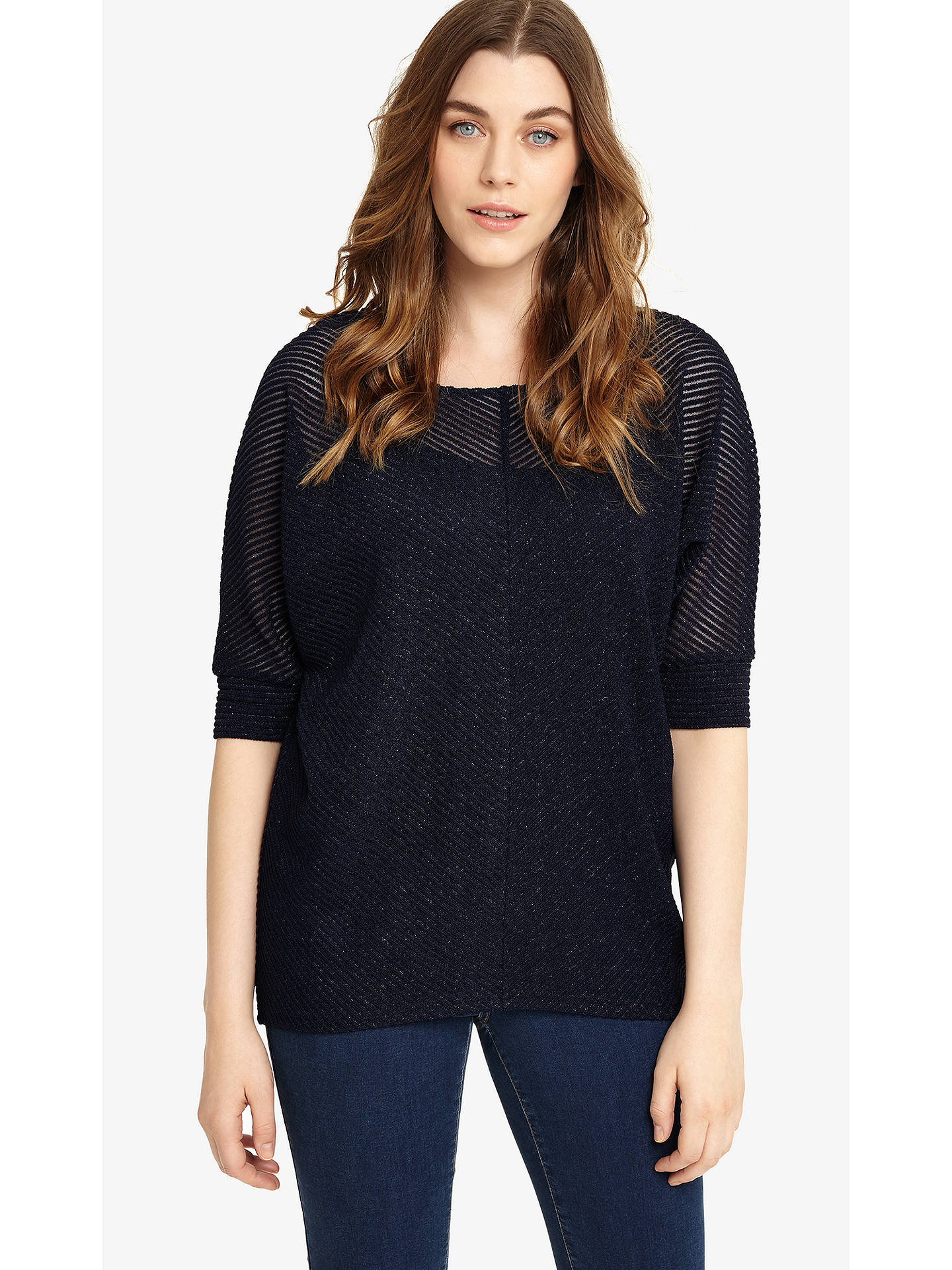 Buy Studio 8 Anoushka Shimmer Top, Navy, 12 Online at johnlewis.com