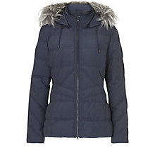 Buy Betty & Co. Hooded Faux Fur Trim Jacket, Foggy Blue Online at johnlewis.com