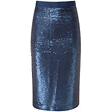 Buy Pure Collection Arielle Pencil Skirt, Navy Sequin Online at johnlewis.com