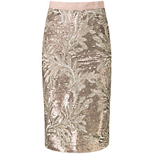 Buy Pure Collection Tia Pencil Skirt, Bronze Sequin Leaf Online at johnlewis.com