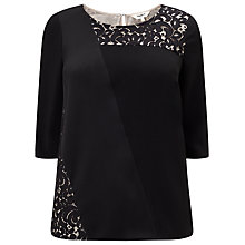 Buy Studio 8 Safire Lace Detail Top, Black Online at johnlewis.com