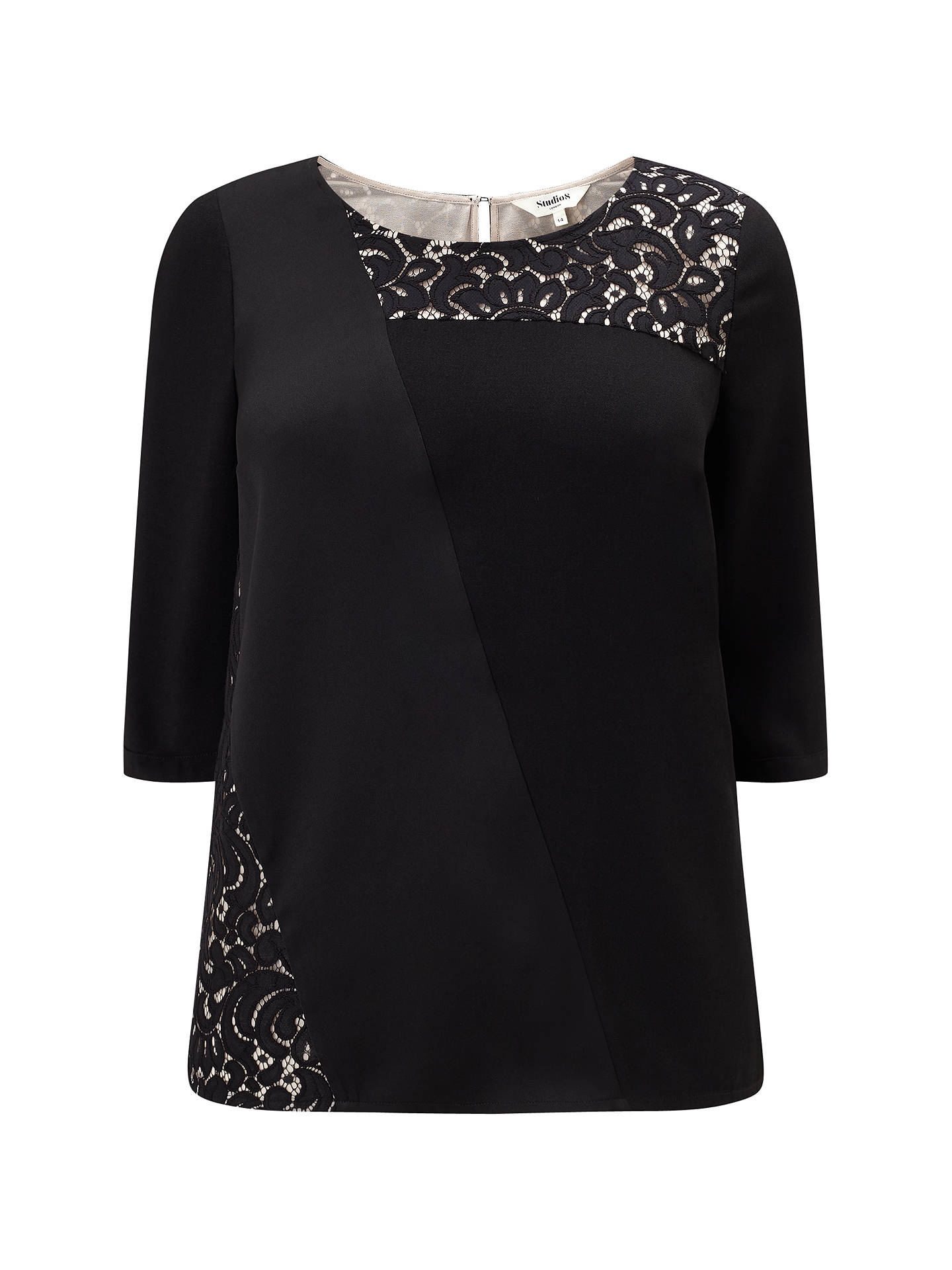 Buy Studio 8 Safire Lace Detail Top, Black, 12 Online at johnlewis.com