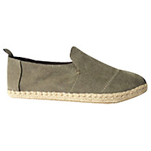 Buy TOMS Classic Deconstructed Washed Slip-On Shoes, Olive Online at johnlewis.com