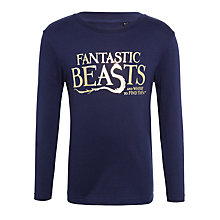 Buy Fantastic Beasts Children's Long Sleeve T-Shirt, Navy Online at johnlewis.com