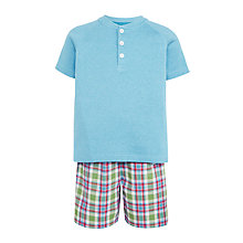 Buy John Lewis Children's Henley Check Short Pyjamas, Blue/Multi Online at johnlewis.com