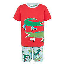 Buy John Lewis Children's Crocodile Print Shortie Pyjamas, Red/Multi Online at johnlewis.com
