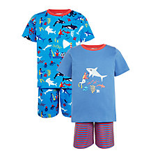 Buy John Lewis Children's Shark Print Pyjamas, Pack of 2, Blue Online at johnlewis.com