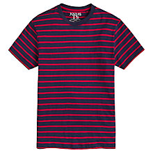 Buy Joules Boathouse Slub Cotton Striped T-Shirt, French Navy/Red Online at johnlewis.com