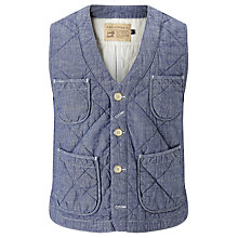 Buy JOHN LEWIS & Co. Quilted Chambray Waistcoat, Blue Online at johnlewis.com