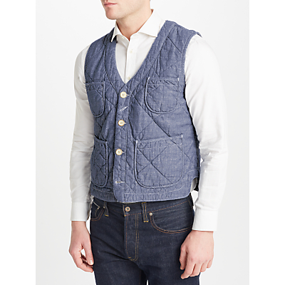 JOHN LEWIS & Co. Quilted Chambray Waistcoat, Blue