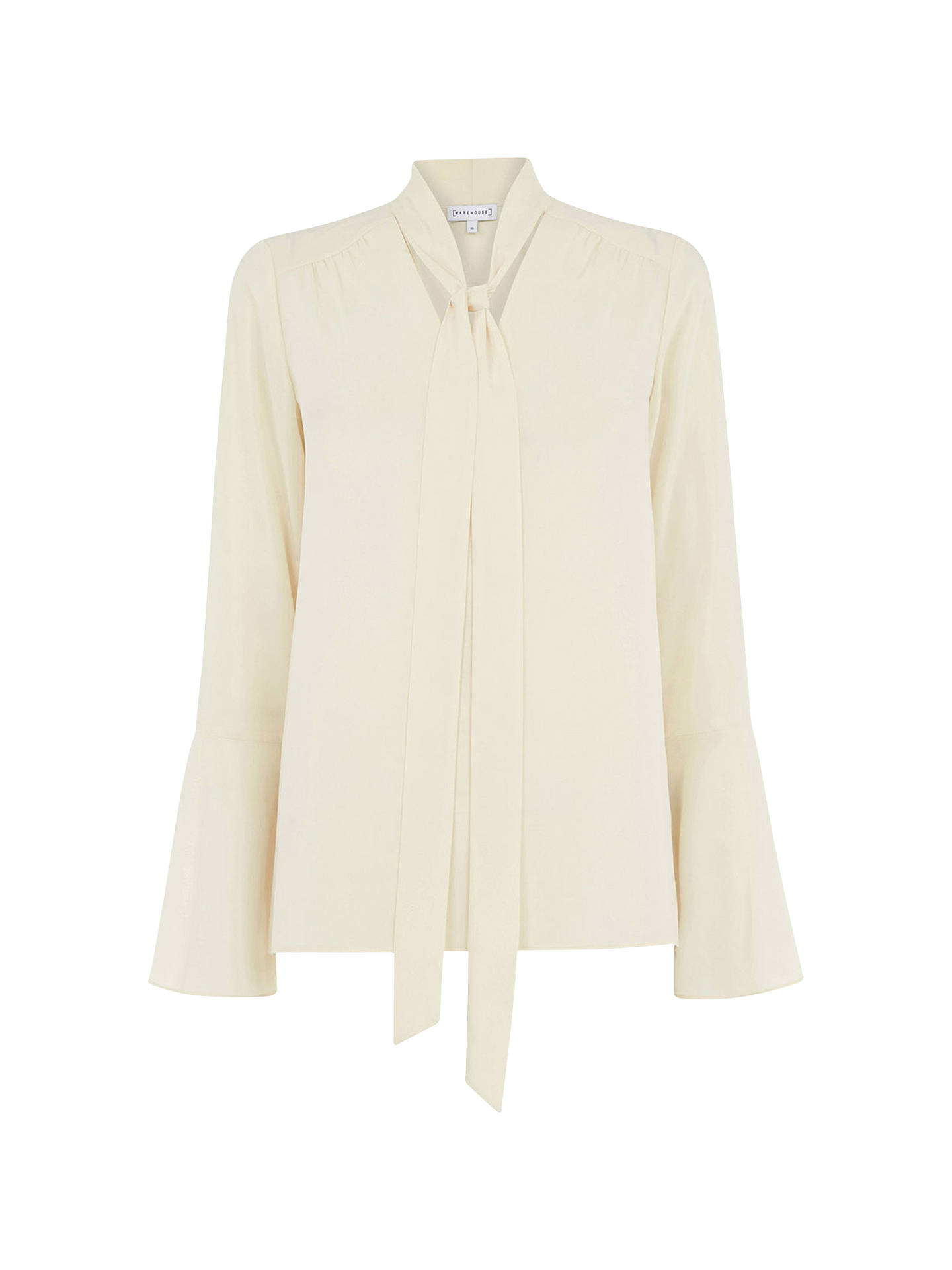 Buy Warehouse Tie Neck Blouse, Cream, 8 Online at johnlewis.com