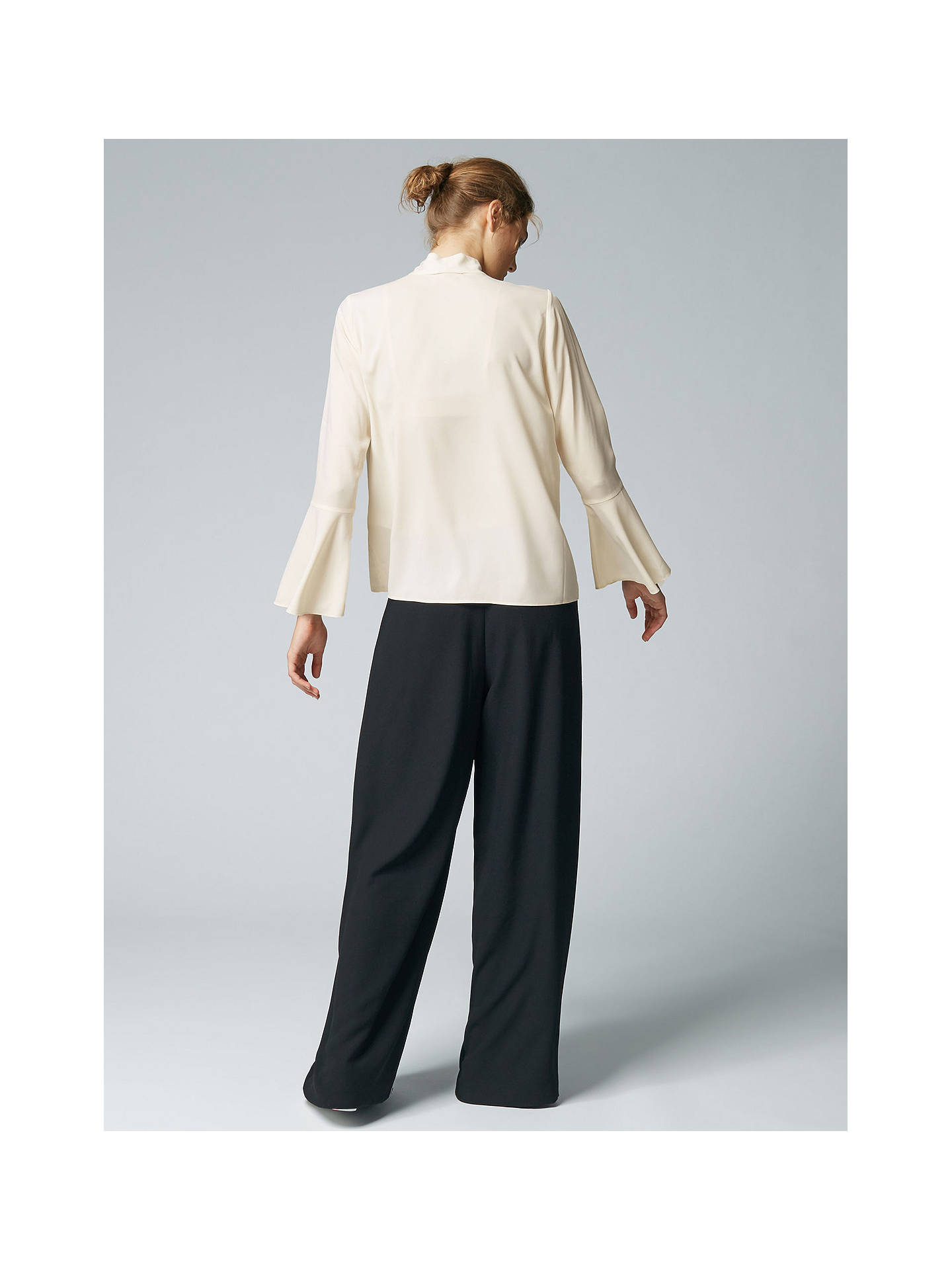 Buy Warehouse Tie Neck Blouse, Cream, 6 Online at johnlewis.com