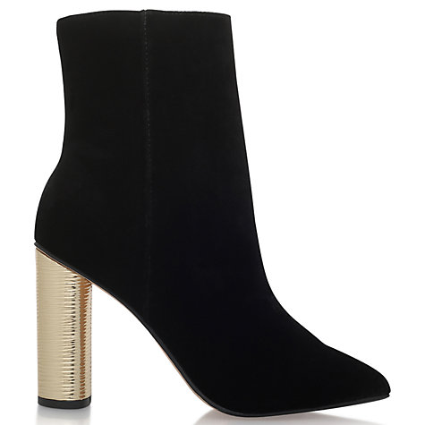 Buy KG by Kurt Geiger Reign Pointed Toe High Block Heel Ankle Boots, Black Velvet Online at johnlewis.com