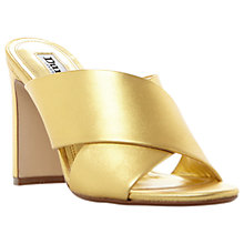 Buy Dune Martey Block Heeled Mule Sandals, Gold Metallic Online at johnlewis.com