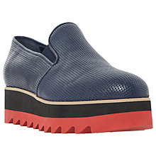 Buy Dune Black Gloss Flatform Loafers, Navy Online at johnlewis.com