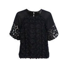 Buy French Connection Apollo Lace Top, Black Online at johnlewis.com