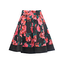 Buy French Connection Allegro Poppy Satin Flared Skirt, Black/Multi Online at johnlewis.com