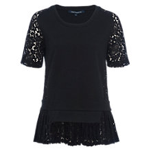 Buy French Connection Fast Flora Jersey Lace Top, Black Online at johnlewis.com