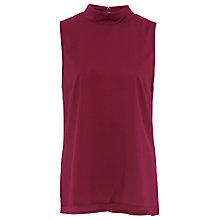 Buy French Connection Crepe Light Mock Neck Top, Berry Red Online at johnlewis.com
