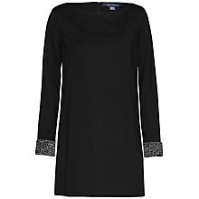 Buy French Connection Crystal Long Sleeve Tunic Dress, Black Online at johnlewis.com
