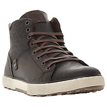 Buy Dune Sherwood Leather Trainers, Brown Online at johnlewis.com