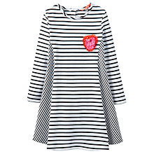 Buy Little Joule Girls' Loralie Stripe Dress, Black/White Online at johnlewis.com