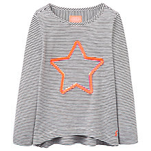 Buy Little Joule Girls' Stripe Star T-Shirt, Black/White Online at johnlewis.com