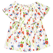 Buy Margherita Kids Girls' Floral Print Ruffle Top, White/Multi Online at johnlewis.com